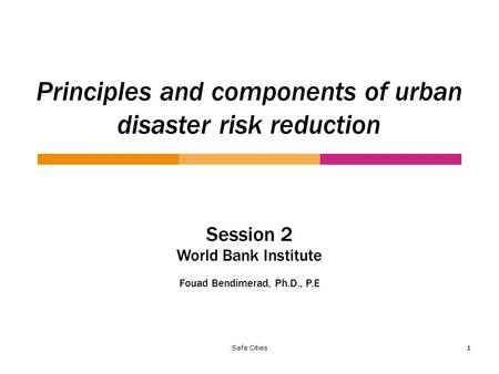Safe Cities 1 Principles and components of urban disaster risk reduction Session 2 World Bank Institute Fouad Bendimerad, Ph.D., P.E.