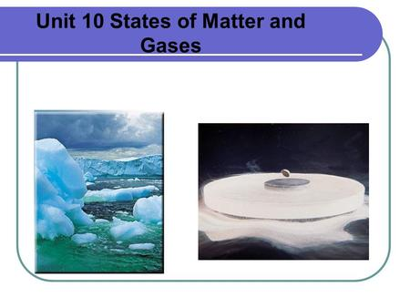 Unit 10 States of Matter and Gases. Phase Changes A phase change is a change in the state of matter During a phase change there is no change in temperature.