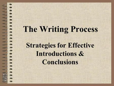 The Writing Process Strategies for Effective Introductions & Conclusions.