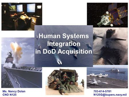 Ms. Nancy Dolan CNO N125 703-614-5781 Human Systems Integration in DoD Acquisition.