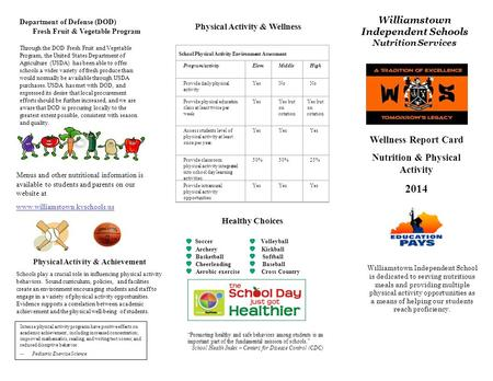 Wellness Report Card Nutrition & Physical Activity 2014 Williamstown Independent School is dedicated to serving nutritious meals and providing multiple.