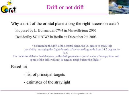 Annie BAGLIN, CNRS, Observatoire de Paris, SC25th September 24th 2007 Drift or not drift Why a drift of the orbital plane along the right ascension axis.