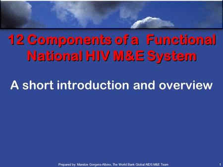Prepared by: Marelize Gorgens-Albino, The World Bank Global AIDS M&E Team (GAMET) 1 12 Components of a Functional National HIV M&E System A short introduction.