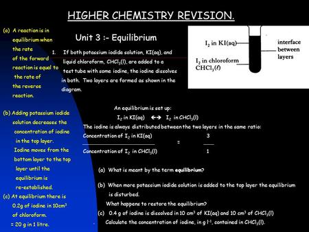 HIGHER CHEMISTRY REVISION. Unit 3 :- Equilibrium 1. If both potassium iodide solution, KI(aq), and liquid chloroform, CHCl 3 (l), are added to a test tube.