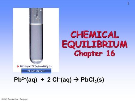 1 © 2009 Brooks/Cole - Cengage CHEMICAL EQUILIBRIUM Chapter 16 Pb 2+ (aq) + 2 Cl – (aq)  PbCl 2 (s) PLAY MOVIE.