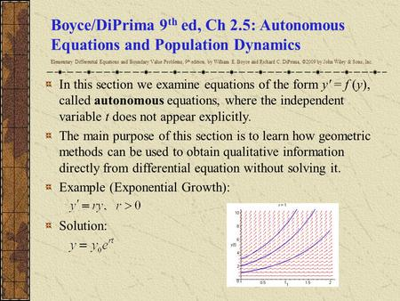 Boyce/DiPrima 9th ed, Ch 2.5: Autonomous Equations and Population Dynamics Elementary Differential Equations and Boundary Value Problems, 9th edition,