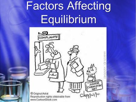 Factors Affecting Equilibrium. Equilibrium: Once equilibrium has been reached, it can only be changed by factors that affect the forward and reverse reactions.