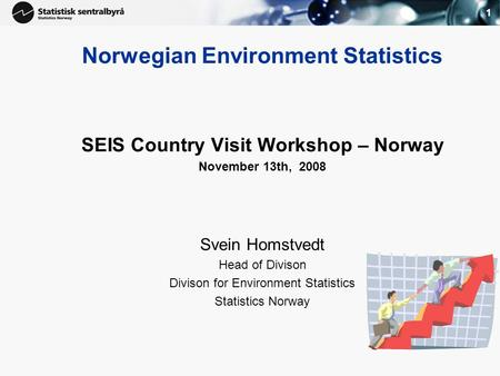 1 Norwegian Environment Statistics SEIS Country Visit Workshop – Norway November 13th, 2008 Svein Homstvedt Head of Divison Divison for Environment Statistics.