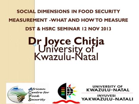 SOCIAL DIMENSIONS IN FOOD SECURITY MEASUREMENT -WHAT AND HOW TO MEASURE DST & HSRC SEMINAR 12 NOV 2013 Dr Joyce Chitja University of Kwazulu-Natal.