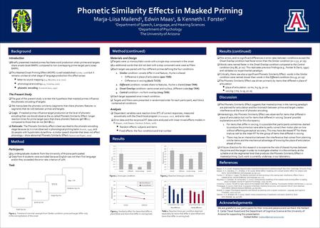 Phonetic Similarity Effects in Masked Priming Marja-Liisa Mailend 1, Edwin Maas 1, & Kenneth I. Forster 2 1 Department of Speech, Language, and Hearing.