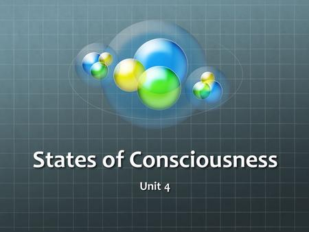 States of Consciousness Unit 4. Topics for Unit 4 Levels of Consciousness SleepDreamsHypnosisDrugs.