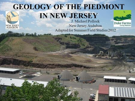 GEOLOGY OF THE PIEDMONT IN NEW JERSEY J. Michael Pollock New Jersey Audubon Adapted for Summer Field Studies 2012.