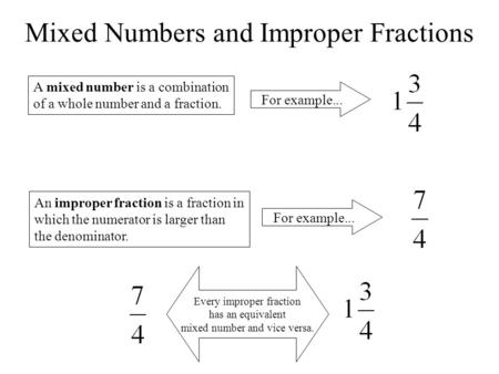 Mixed Numbers and Improper Fractions A mixed number is a combination of a whole number and a fraction. For example... An improper fraction is a fraction.