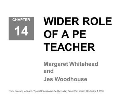 WIDER ROLE OF A PE TEACHER Margaret Whitehead and Jes Woodhouse CHAPTER 14 From: Learning to Teach Physical Education in the Secondary School 3rd edition,