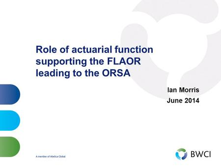Role of actuarial function supporting the FLAOR leading to the ORSA Ian Morris June 2014.