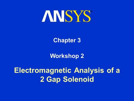 Electromagnetic Analysis of a 2 Gap Solenoid