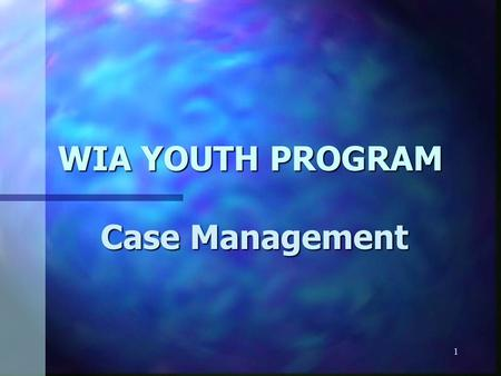 1 WIA YOUTH PROGRAM Case Management. 2 ò Case management is a youth-centered, goal- oriented process for assessing needs of youth for particular services.