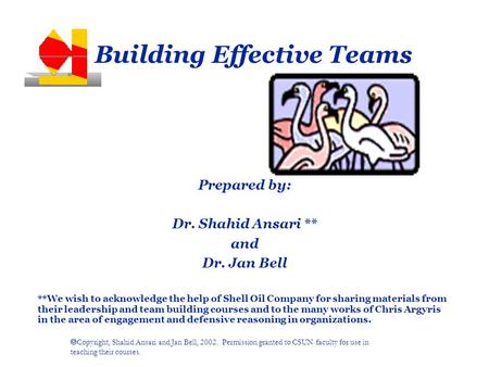  Copyright, Shahid Ansari and Jan Bell, 2002. Permission granted to CSUN faculty for use in teaching their courses. Building Effective Teams Prepared.