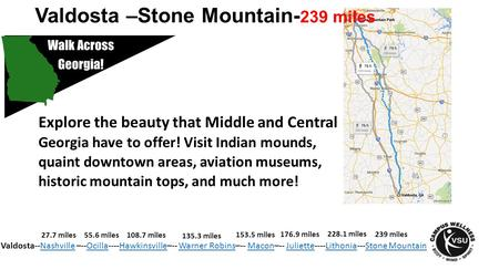 Valdosta –Stone Mountain- 239 miles Explore the beauty that Middle and Central Georgia have to offer! Visit Indian mounds, quaint downtown areas, aviation.