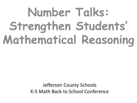 Jefferson County Schools K-5 Math Back to School Conference