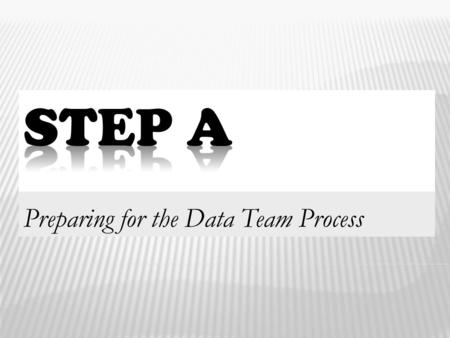 "Preparing for the Data Team Process 1.  Know the rationale for ""Step A"" with respect to the data team process.  Experience Step A as a tool to help."