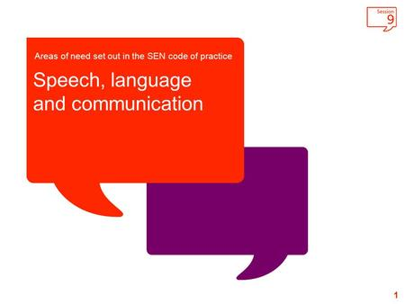 1 Areas of need set out in the SEN code of practice Speech, language and communication.