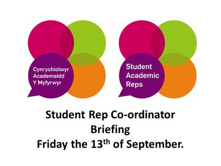 Student Rep Co-ordinator Briefing Friday the 13 th of September.