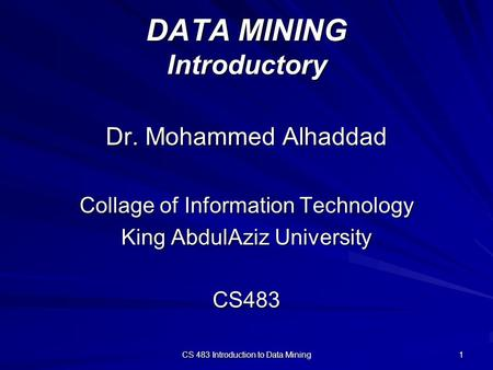 DATA MINING Introductory