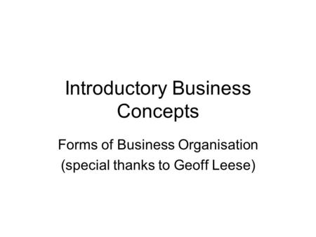 Introductory Business Concepts