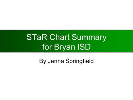 STaR Chart Summary for Bryan ISD By Jenna Springfield.