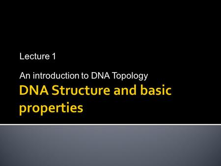 Lecture 1 An introduction to DNA Topology  The human cell contains 23 pairs of chromosomes  If we scale the cell nucleus to the size of Basketball.