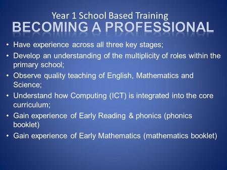 Year 1 School Based Training Have experience across all three key stages; Develop an understanding of the multiplicity of roles within the primary school;