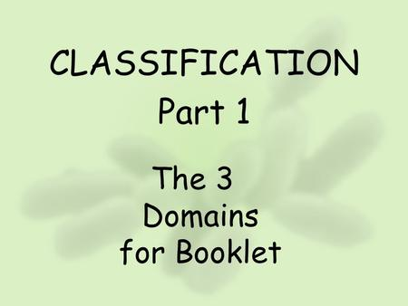 The 3 Domains for Booklet