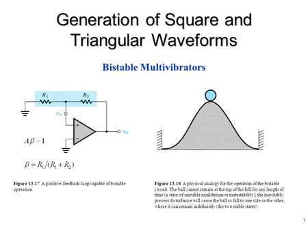 1 Figure 13.17 A positive-feedback loop capable of bistable operation. Bistable Multivibrators Generation of Square and Triangular Waveforms Figure 13.18.
