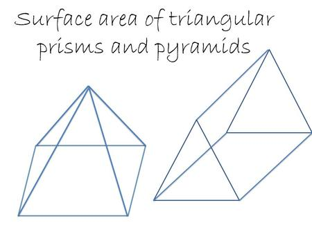 Surface area of triangular prisms and pyramids