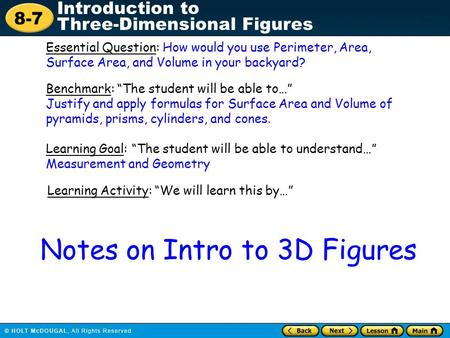 Notes on Intro to 3D Figures