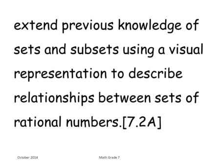 Extend previous knowledge of sets and subsets using a visual representation to describe relationships between sets of rational numbers.[7.2A] October 2014Math.