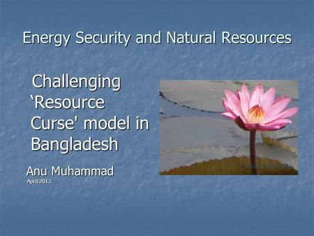 Energy Security and Natural Resources