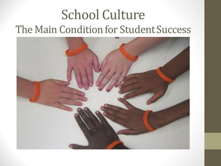School Culture The Main Condition for Student Success.