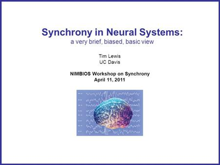 Synchrony in Neural Systems: a very brief, biased, basic view Tim Lewis UC Davis NIMBIOS Workshop on Synchrony April 11, 2011.