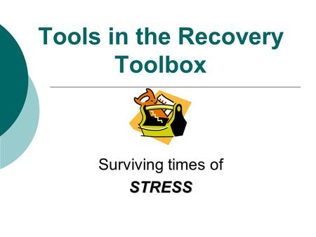 Tools in the Recovery Toolbox Surviving times ofSTRESS.