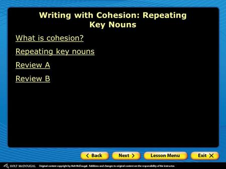 Writing with Cohesion: Repeating Key Nouns