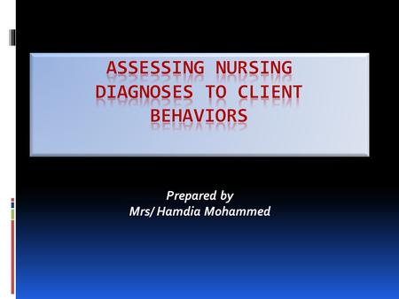 Prepared by Mrs/ Hamdia Mohammed. Introduction Following is a list of client behaviors and the NANDA nursing diagnoses which correspond to the behaviors.