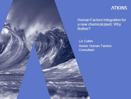 Human Factors Integration for a new chemical plant: Why Bother? Liz Cullen Senior Human Factors Consultant.