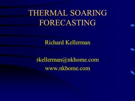 THERMAL SOARING FORECASTING