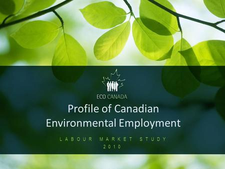 1 Profile of Canadian Environmental Employment LABOUR MARKET STUDY 2010.