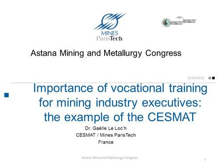 Importance of vocational training for mining industry executives: the example of the CESMAT 12/06/2013 Dr. Gaëlle Le Loc'h CESMAT / Mines ParisTech France.
