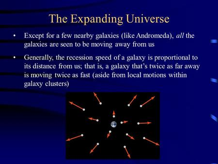 The Expanding Universe Except for a few nearby galaxies (like Andromeda), all the galaxies are seen to be moving away from us Generally, the recession.