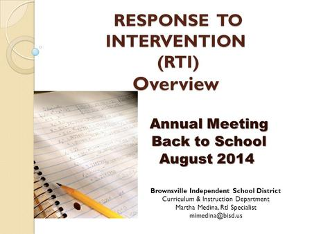 RESPONSE TO INTERVENTION (RTI) Overview