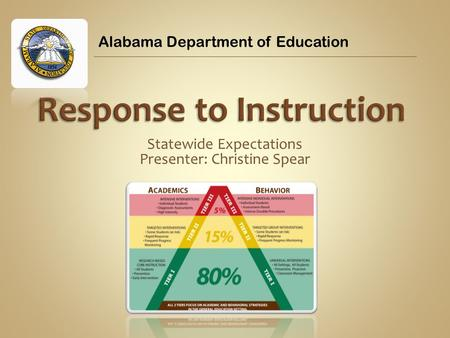 Statewide Expectations Presenter: Christine Spear Alabama Department of Education.
